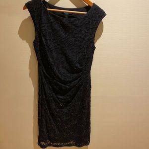 Ralph Lauren Black Lace Sequined Cocktail Dress.